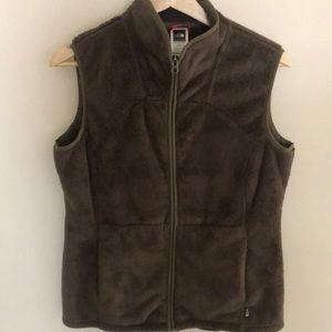 Brown Sherpa Fleece North Face Vest